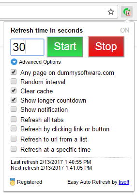Easy Auto Refresh Advanced Options for Chrome Refresh Reload