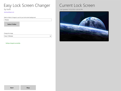 Easy Lock Screen Changer Windows 8 App
